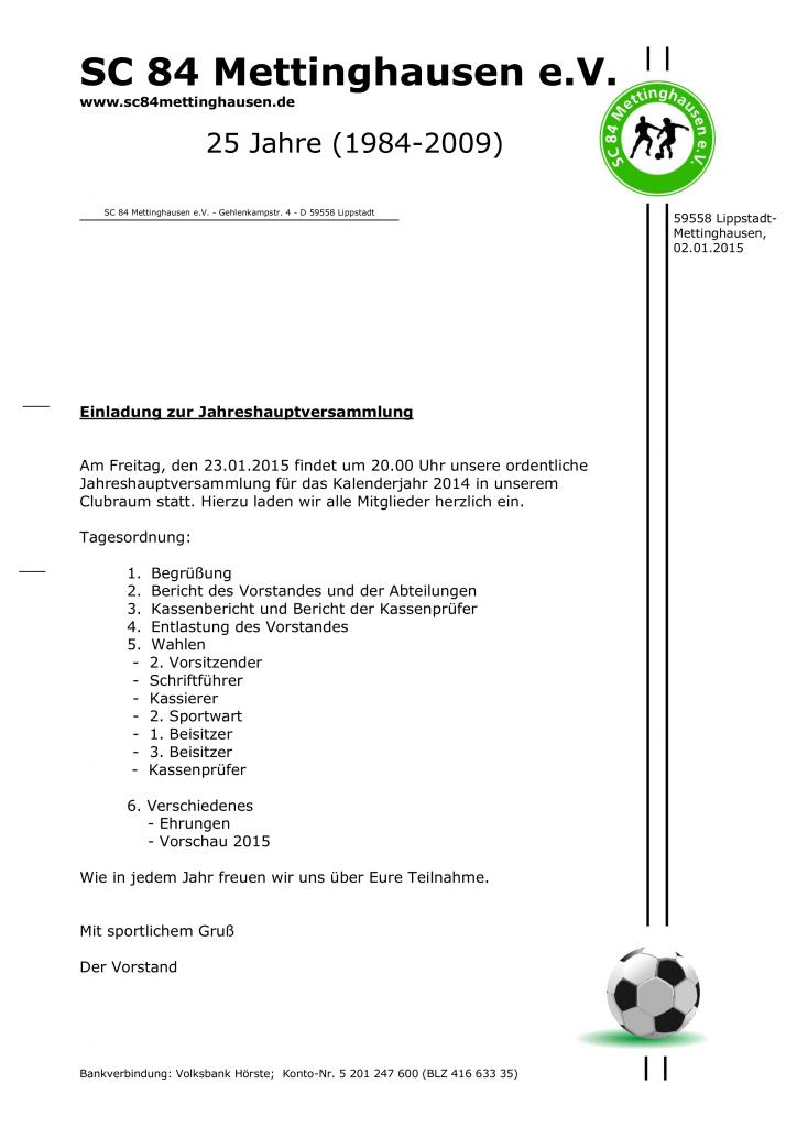 Einladung Jahreshauptversammlung 2015